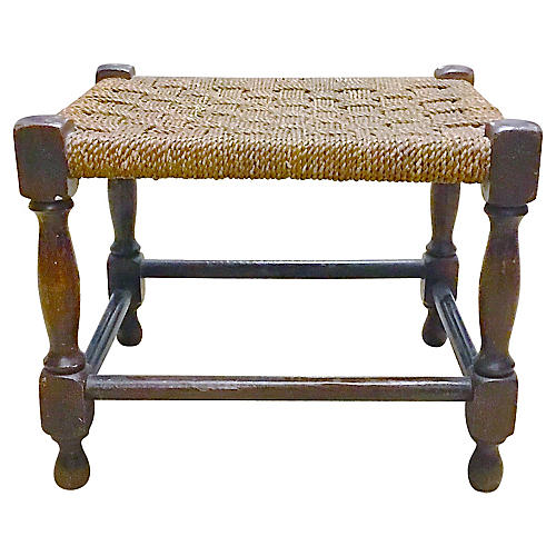 Antique English Country Hemp Footstool