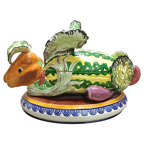 Majolica Vegetable & Fruit Rabbit Tureen