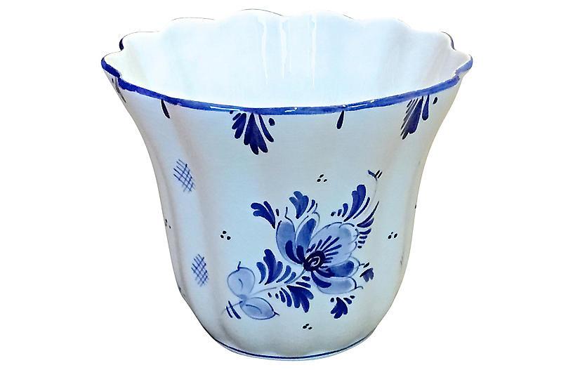 Ceramic Floral Delft Cachepot
