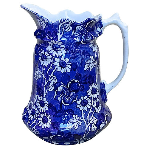 Staffordshire Blue White Floral Pitcher