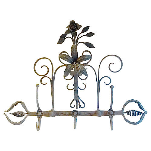 Antique Wrought Iron Floral Coat Rack