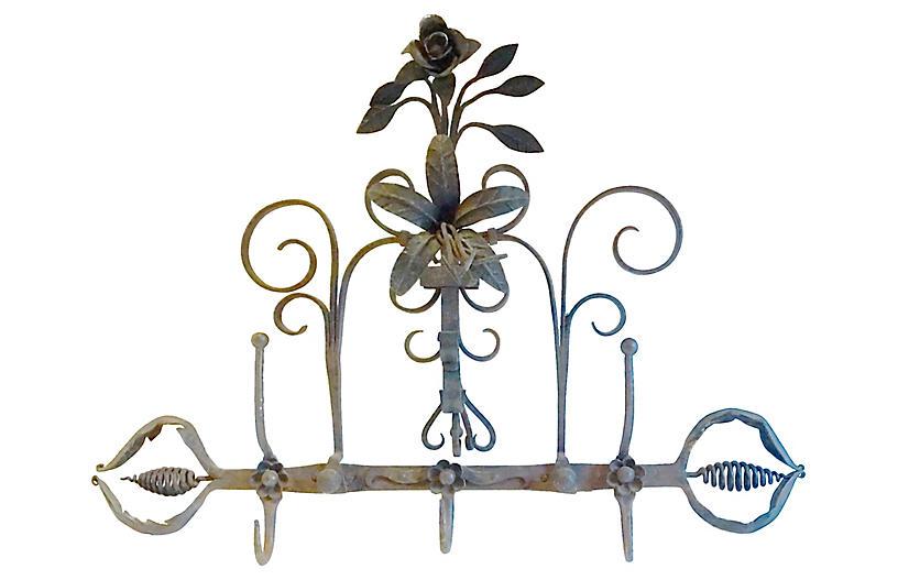 Antique Wrought Iron Floral Coat Rack
