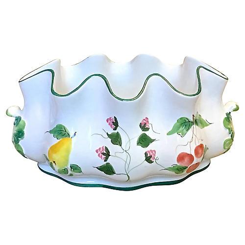 Fruit Themed Leaf Handle Serving Bowl