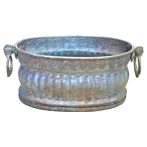 Copper & Bronze Fluted Cachepot