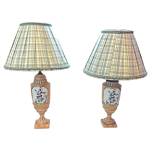 Classical Nymph & Cherub Lamps, Pair