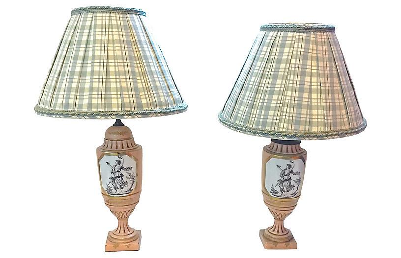 Classical Nymph & Cherub Lamps, Pair