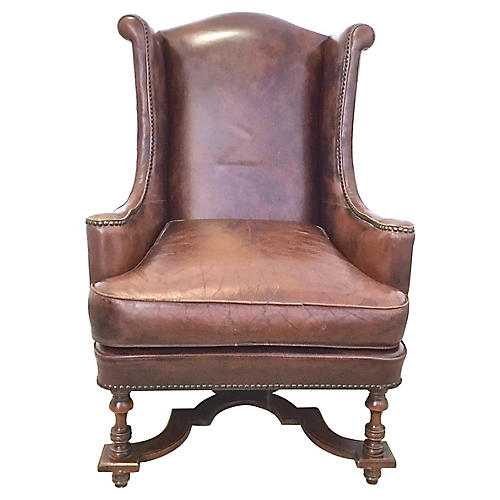 Leather & Carved Wingback Chair