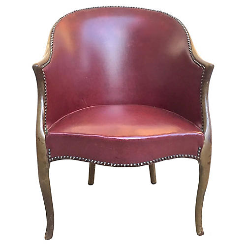 Antique Red Leather Armchair