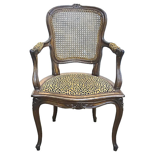 Antique Cane & Leopard Armchair