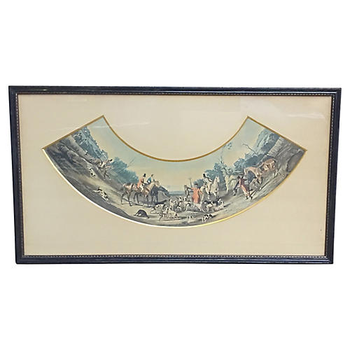 Antique French Hunt Scene Engraving