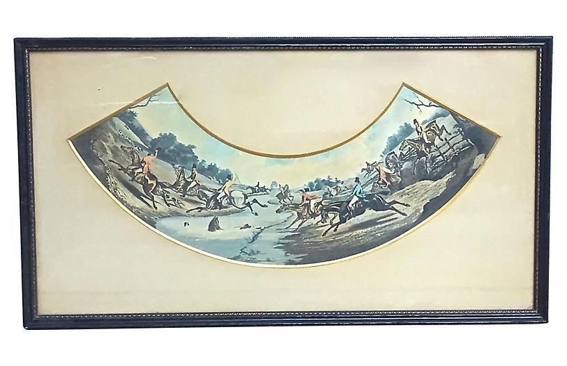 Antique French Hunt Scene Engraving