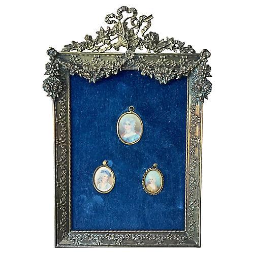 Floral Brass Framed Porcelain Portraits