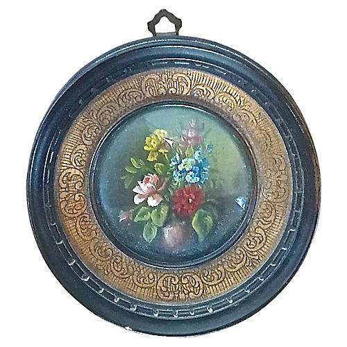 Antique Round Miniature Floral Painting