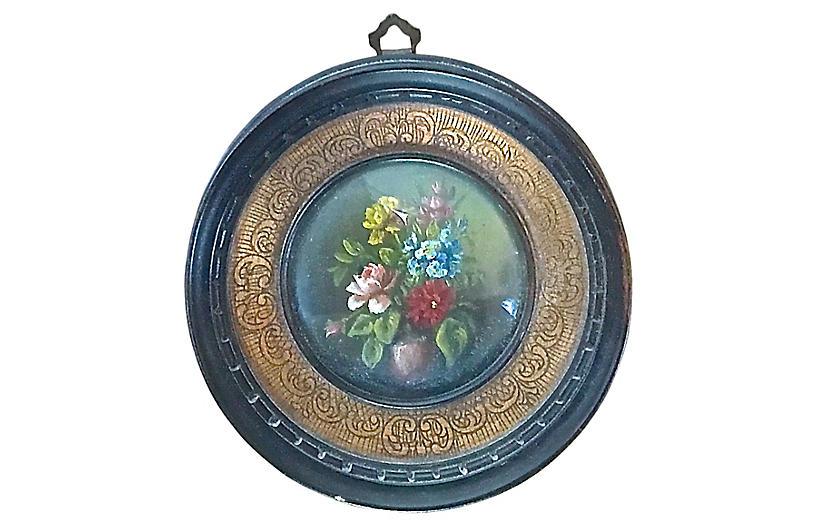 Antique Round Miniature Floral Painting