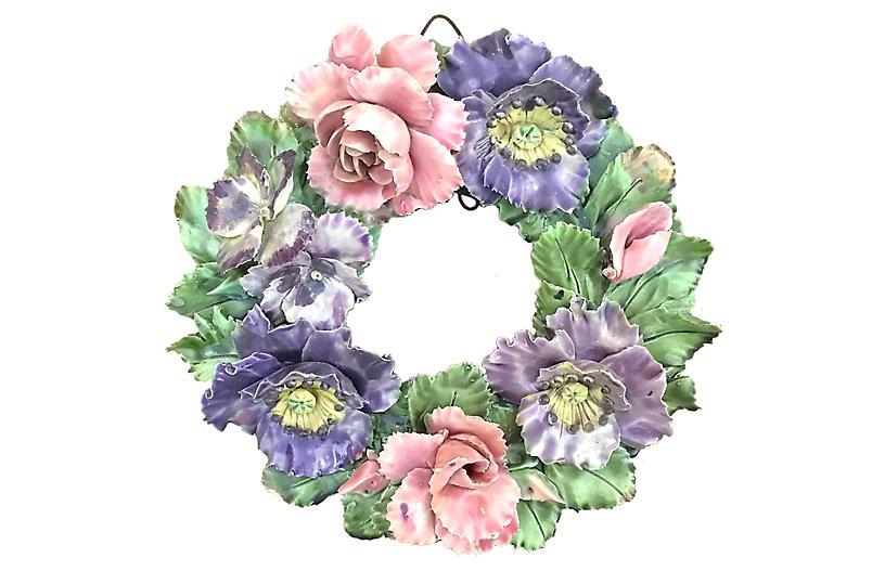 Antique Majolica Floral Wreath