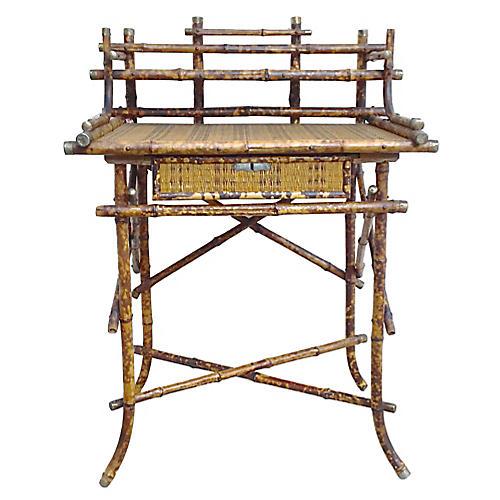 Antique Bamboo & Cane Writing Desk