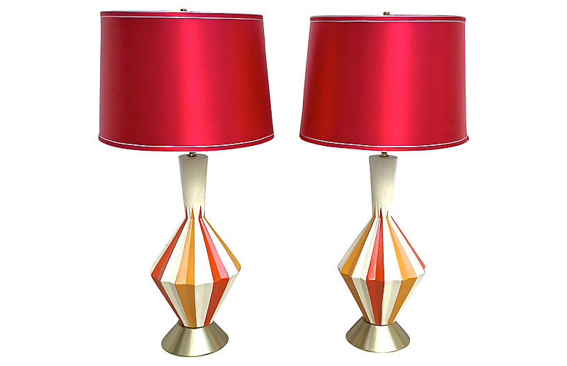 Midcentury Atomic Color Fluted Lamps, Pr