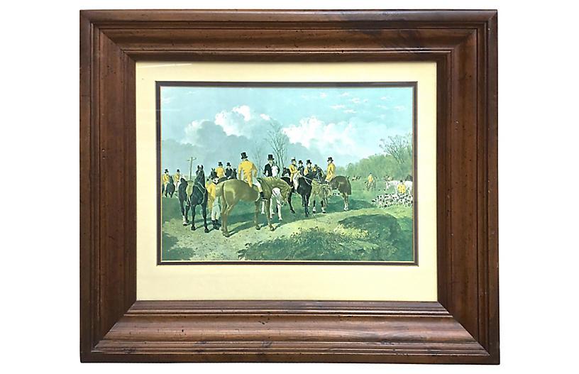Framed Hunt Scene Engraving