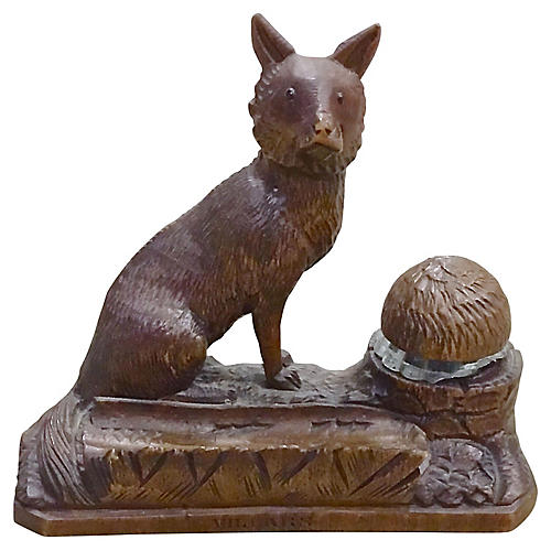 Antique Black Forest Fox Inkwell