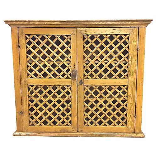 Antique Latticework Wall Cabinet