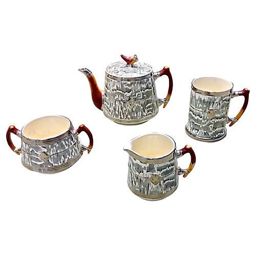 Arthur Wood Silver Shield Tea Set, S/4