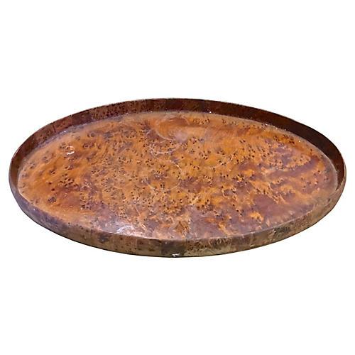 Oval Burlwood Serving Tray