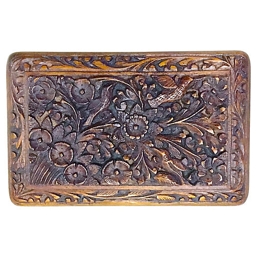 Antique Hand-Carved Floral & Bird Box