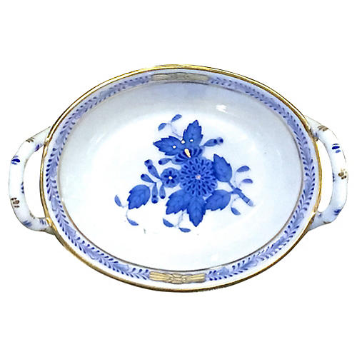 Herend White & Blue Floral Dish