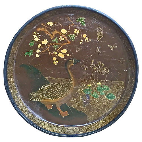 Ant. Hand-Painted Duck & Pond Wood Plate