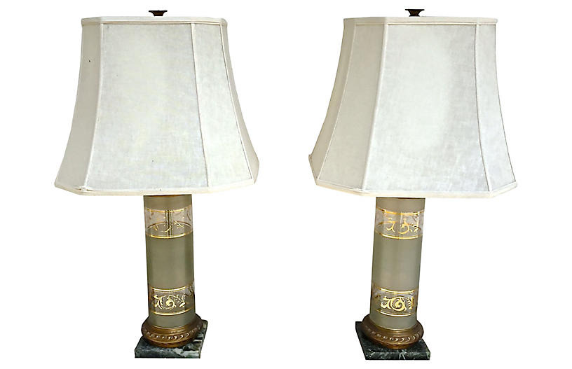 Glass & Marble Acanthus Leaf Lamps, Pair