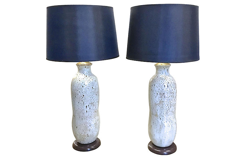 White Drip Glaze Ceramic Lamps, Pair