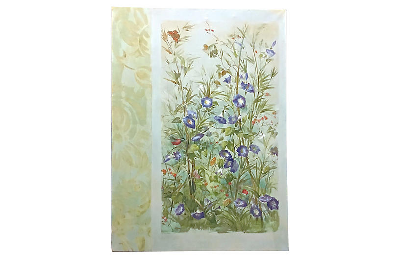 Faux Floral Painting Print On Canvas