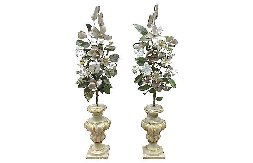 Ant Tole Floral & Wood Urn Garniture, Pr