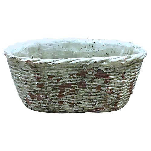 Concrete Basket Style Cachepot