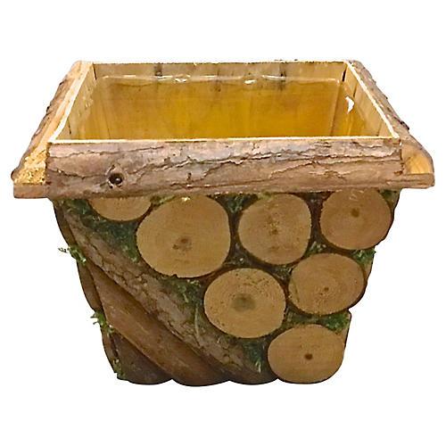 Rustic Wood Cachepot
