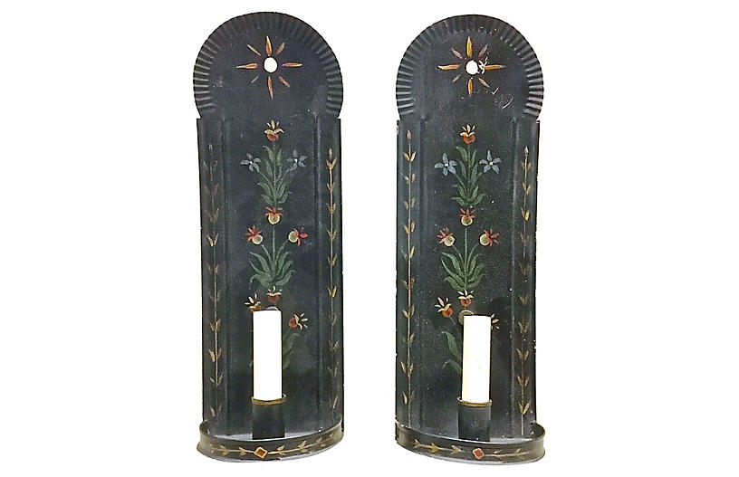 Tole Hand-painted Floral Wall Sconces