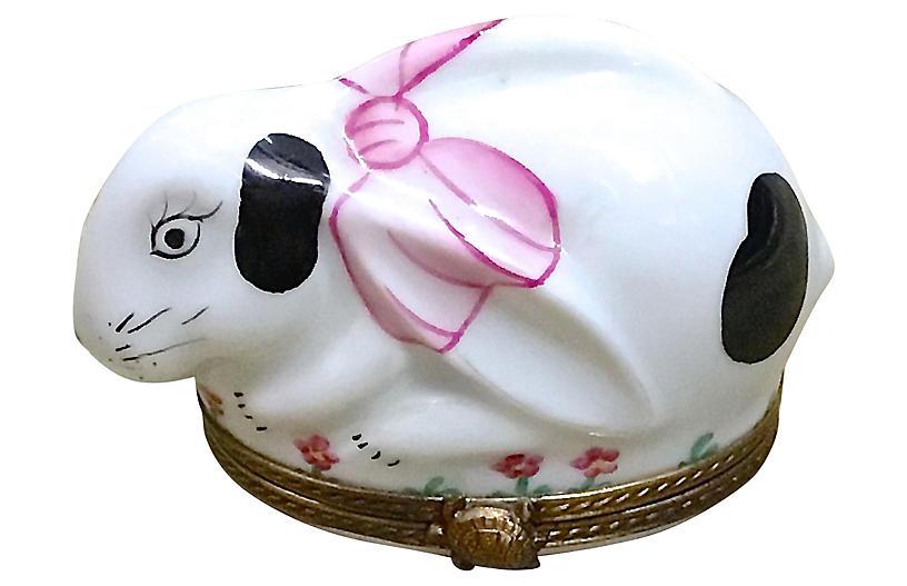 Porcelain & Brass Rabbit Limoges Box
