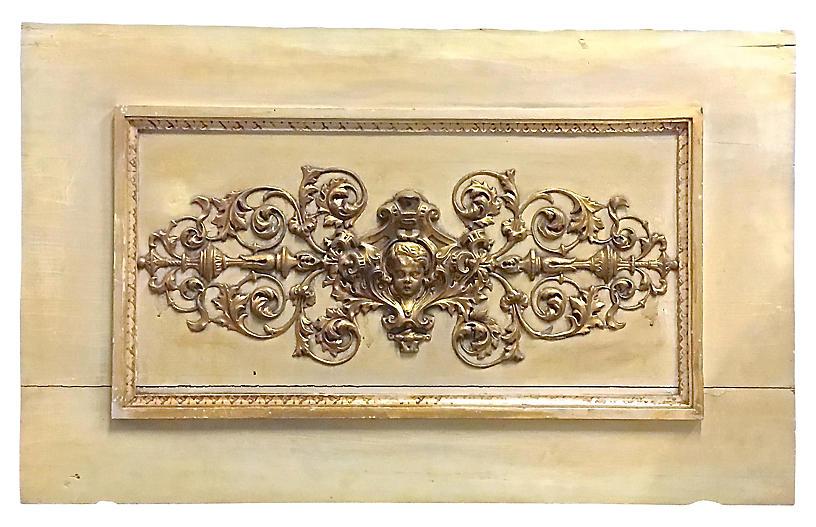 Brass & Wood Cherub-Acanthus Leaf Plaque