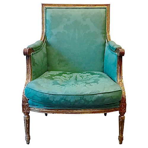 Louis XVI Style Green Damask Fauteuil