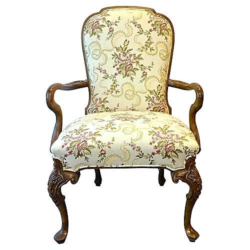 Ribbon & Floral Gooseneck Armchair
