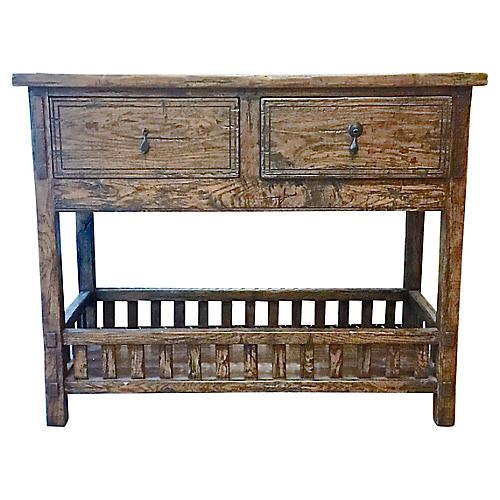 Distressed Rustic Oak Sideboard