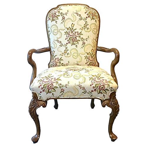Floral & Ribbon Gooseneck Armchair
