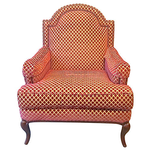 Diamond Velvet Pattern Club Chair