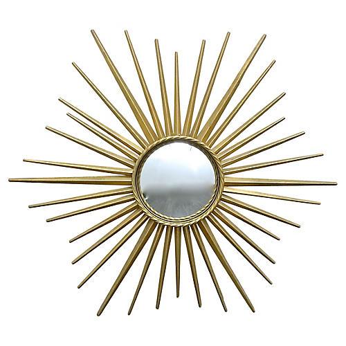 Brass Starburst Concave Mirror