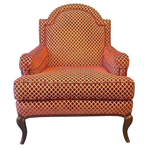 Velvet Diamond Pattern Club Chair