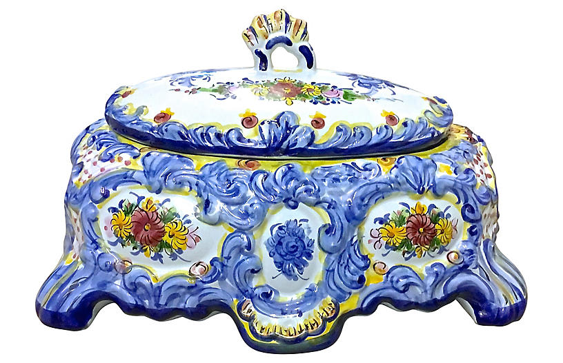Blue & White & Floral Lidded Tureen