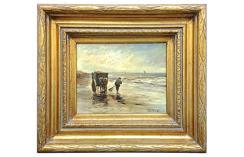Beach Fisherman Oil Painting