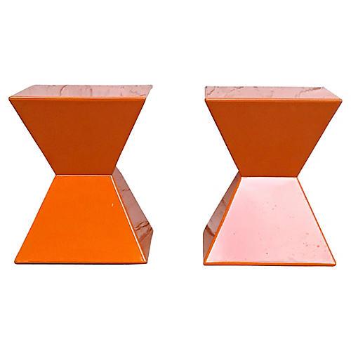 Acrylic Molded Pyramid Side Tables, PR