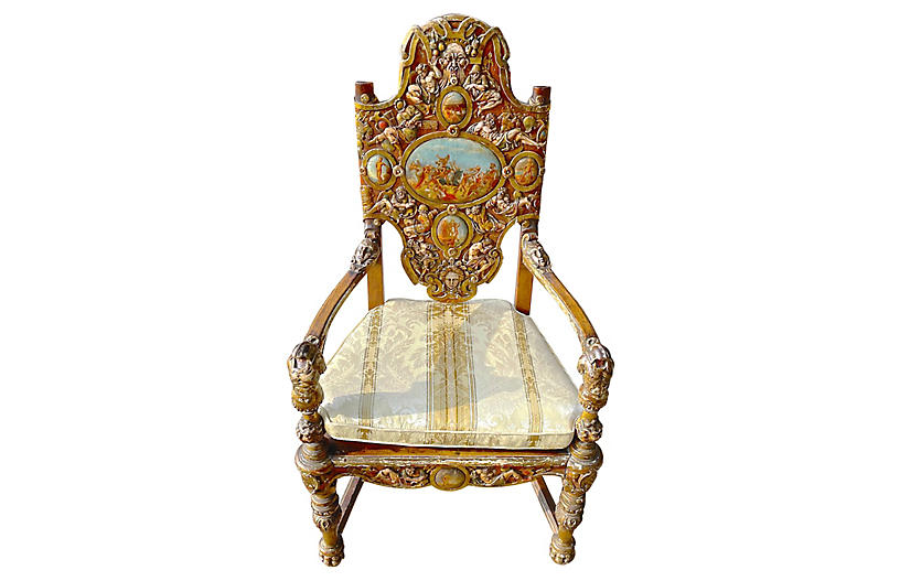 Carved Ancient Roman History Armchair