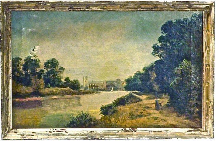 Antique River Scene Oil Painting